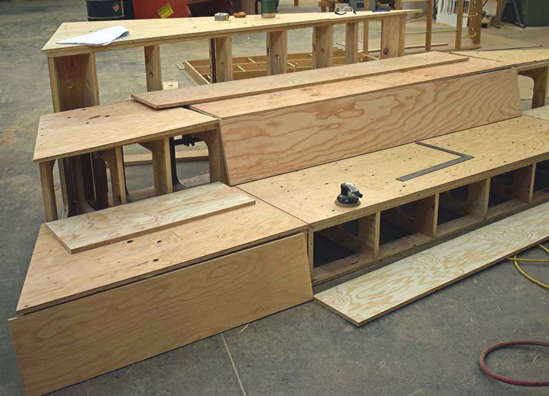 Take a look at how the tiered seating comes together in NWD's Custom Shop.