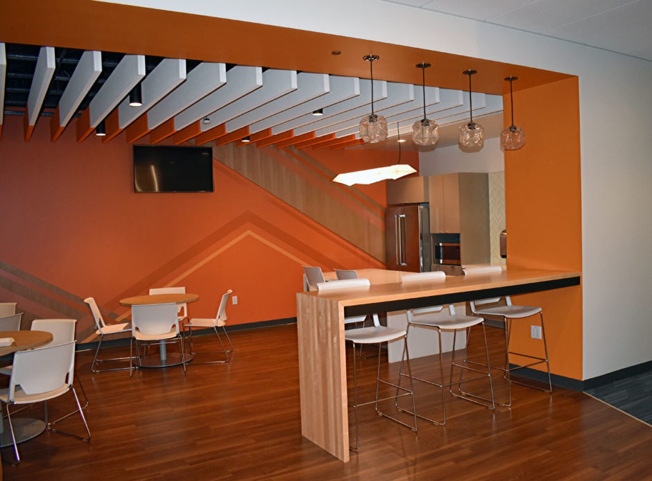 The cafe is complete with plenty of seating options and an area to prepare meals.