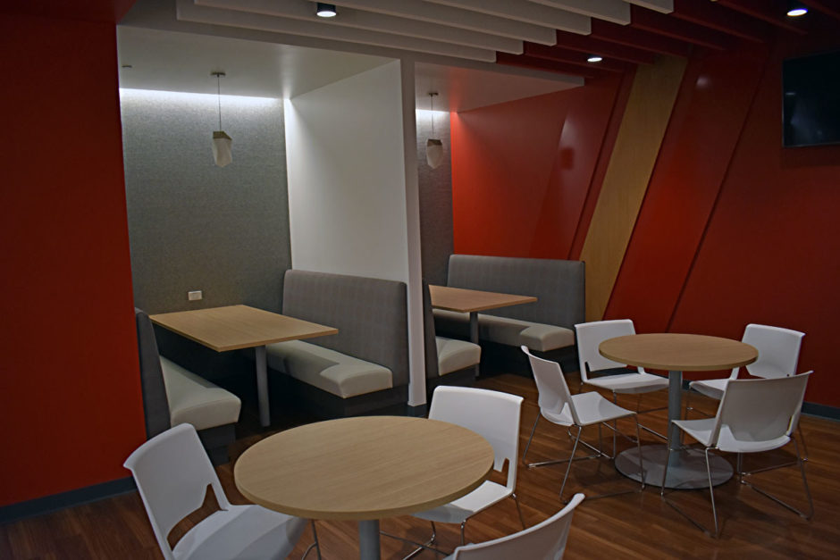 Booth seating also is available in the cafe.