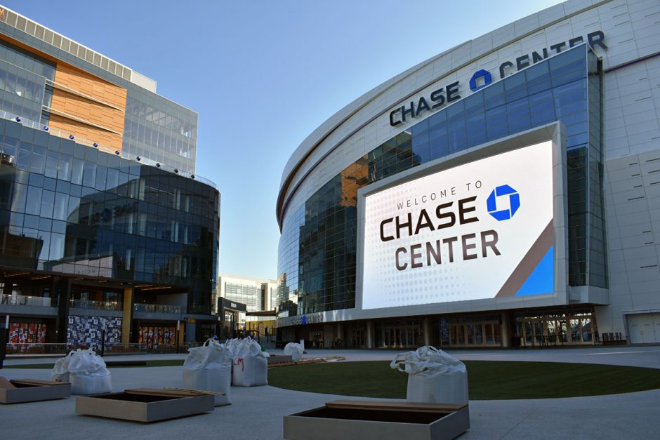 The Chase Center is located on a 10-acre lot set back slightly from the waterfront in the Mission Bay neighborhood of San Francisco.