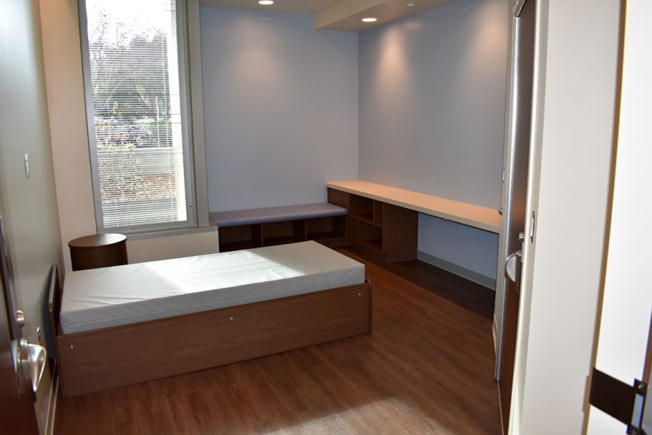 All patient rooms include seclusion beds and a bench cubby and cushion.