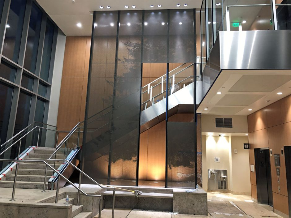 Paneling in the lobby and stairway at El Camino Behavioral Health is just about complete.