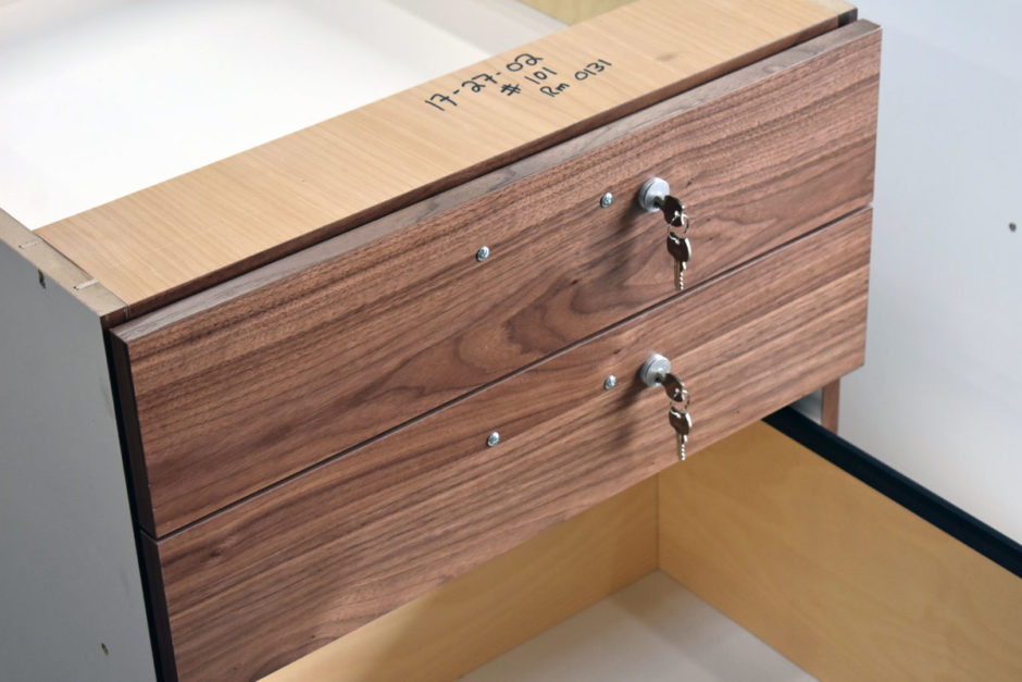 Here is a detailed photo of the locking drawers.
