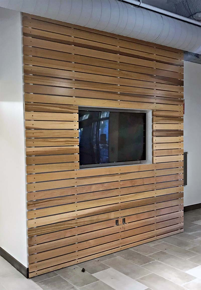 This wood slat feature wall is western red cedar.