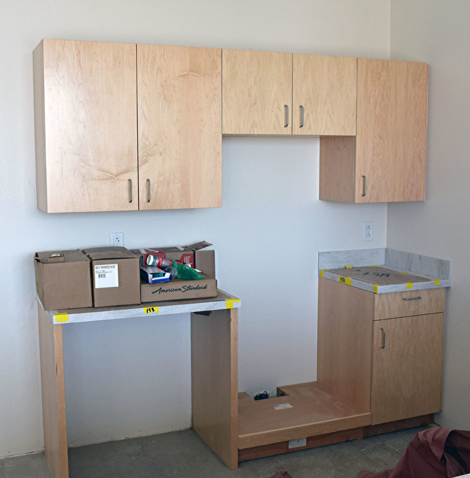 Here is some of the casework Northwestern Design is installing for the second phase of the project.