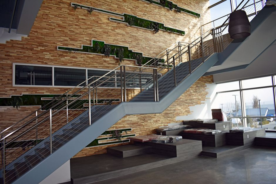 MyoKardia's feature stair wall, which stretches three floors, is a highlight of the project.