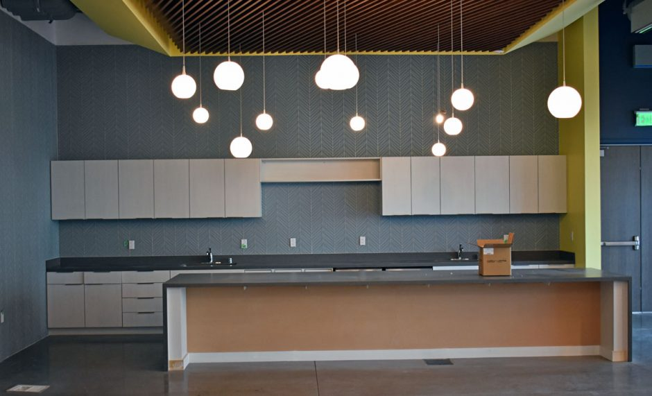 This is one of the coffee bar/break room areas located on the first floor of the project.