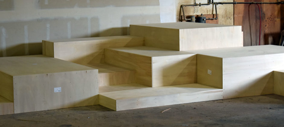 This tightly cropped photo shows the different levels of step seating.