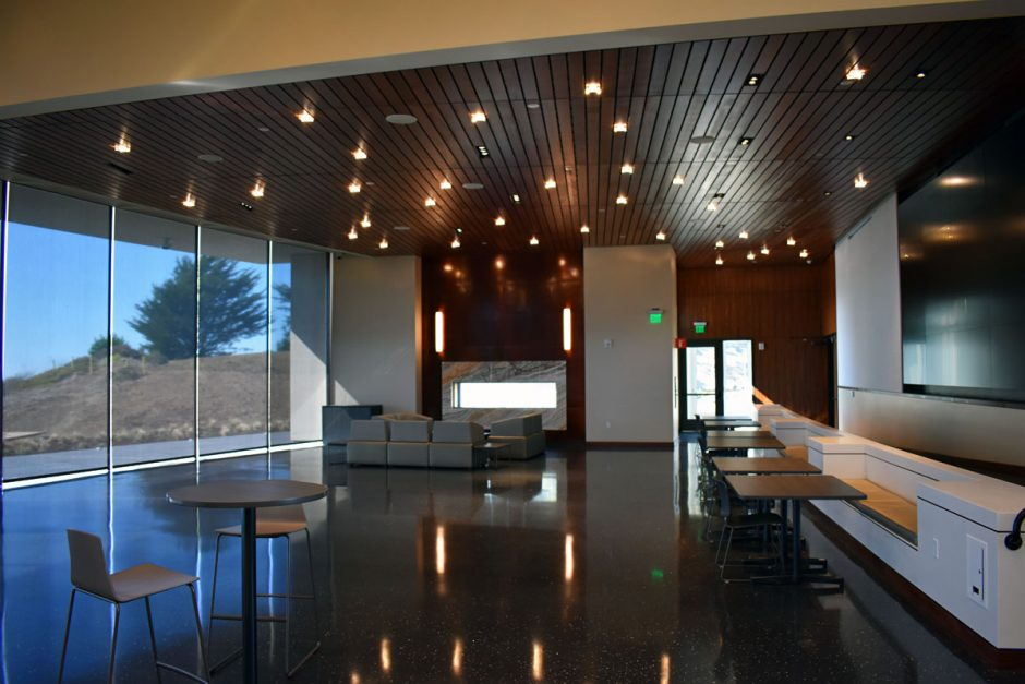 NWD worked with Fischer Tile on the Gallery low walls that are also used for seating.
