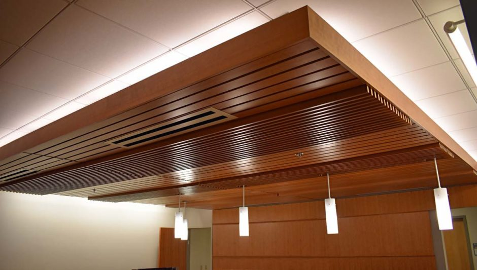 Cherry wall paneling was used in the reception area, which is located right across from the main waiting area.