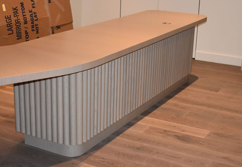 Here is a look at the custom reception desk.